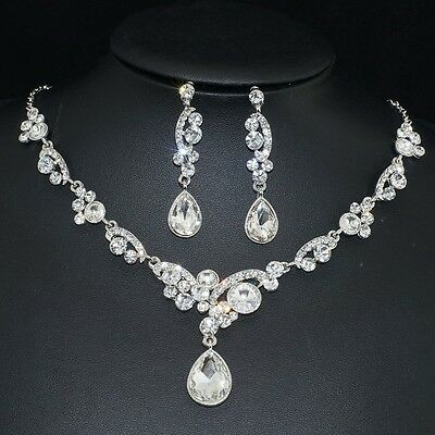 YT284 Clear Rhinestone Crystal Earrings Necklace Set Bridal Party Gift