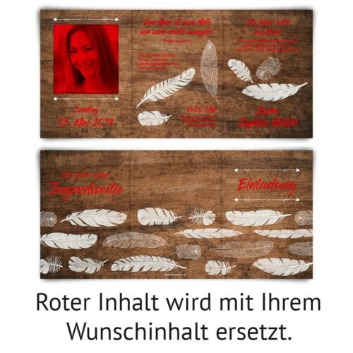Jugendweihe Einladungskarten individuelle Klappkarten A6 Holz Federn