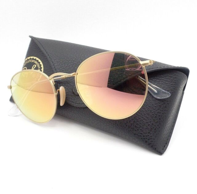 d10f92ef4f Ray-Ban RB 3447 112 z2 Sunglasses Round Metal Lennon Gold Frame Pink Mirror  53mm
