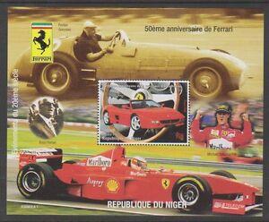 NIGER-1998-50th-anniversaire-de-Ferrari-Schumacher-feuille-MNH