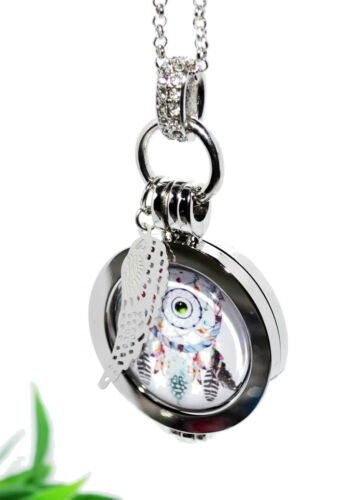 Selección DreamCatcher coin medallón cadena colgante moneda plata soporte alas