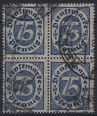 Deutschland Vor 1945 Deutschland Ausdrucksvoll Dienst Minr 69 Im Viererblock Infla Berlin Geprüft Und Gestempelt.