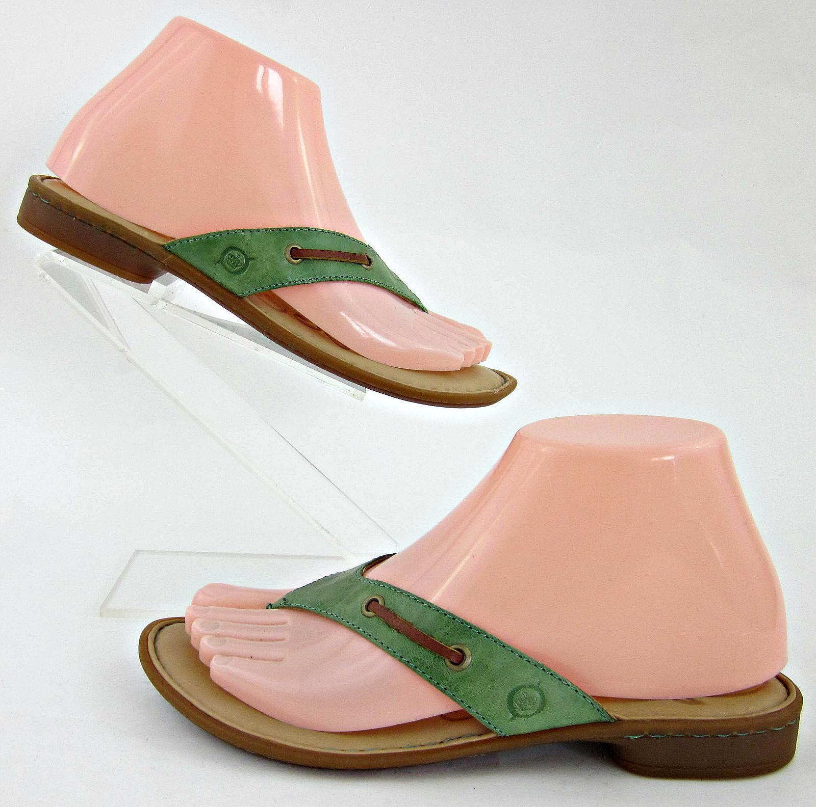 Born 'Toya' Thong Sandales Green Tan Leder Sz 6 Worn Once