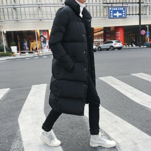 Men Winter Cotton Down Padded Long Coat Stand collar Parka Quilted Jacket Warm