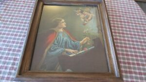 Religious-Print-Cherubs-Angels-St-Cecelia-Playing-Piano-Antique-Colorful-Roses