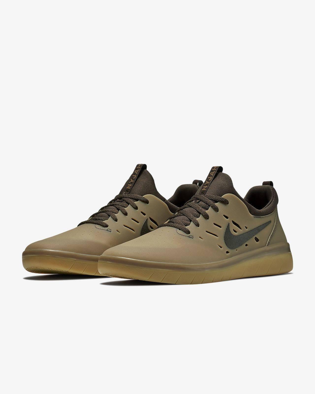 NIKE SB Nyjah Free Skateboard Shoes Gum Dark Brown AA4272-992 Size 9.5