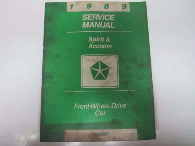 89 Dodge Spirit Plymouth Acclaim Service Manual Used 1989