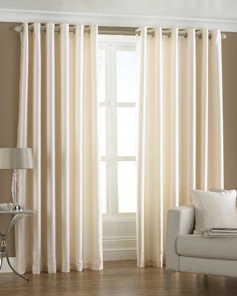 Homefab India Royal Silky Cream Curtain with Metal Eyelets (HF042)