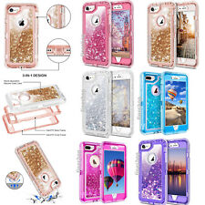 For Apple iPhone 8 7 Plus XR XS X Case Defender Liquid Glitter Quicksand Cover