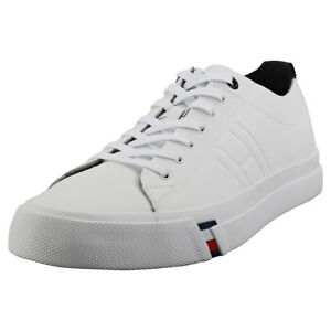 6d6dbec5f5fcb4 Image is loading Tommy-Hilfiger-Corporate-Clean-Dino-Mens-White-Leather-