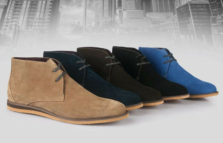 Men boys ankle boot chukka desert suede leather lace up comfort lined shoes