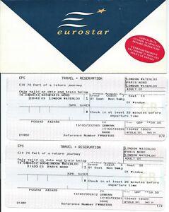 EUROSTAR-15-April-1997-original-vintage-tickets-amp-wallet-Waterloo-Paris-Nord