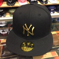 Era York Yankees Fitted Hat All Black/gold Metal Badge