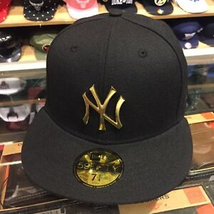 52aae3149d8 New Era New York Yankees Fitted Hat All BLACK GOLD METAL BADGE