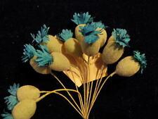 Vintage Millinery Flower Bud Stamen Blue Flocked 12p for Hat Wedding or Hair NJ2