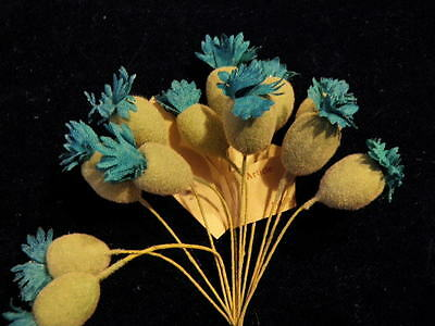 Vintage Millinery Flower Bud Stamen Blue Flocked 12p for Hat Wedding or Hair NJ2