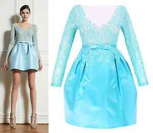 Elegant-See-Through-Sheer-Lace-Low-V-Neck-Back-Blue-Silk-Satin-Puffy-Prom-Dress