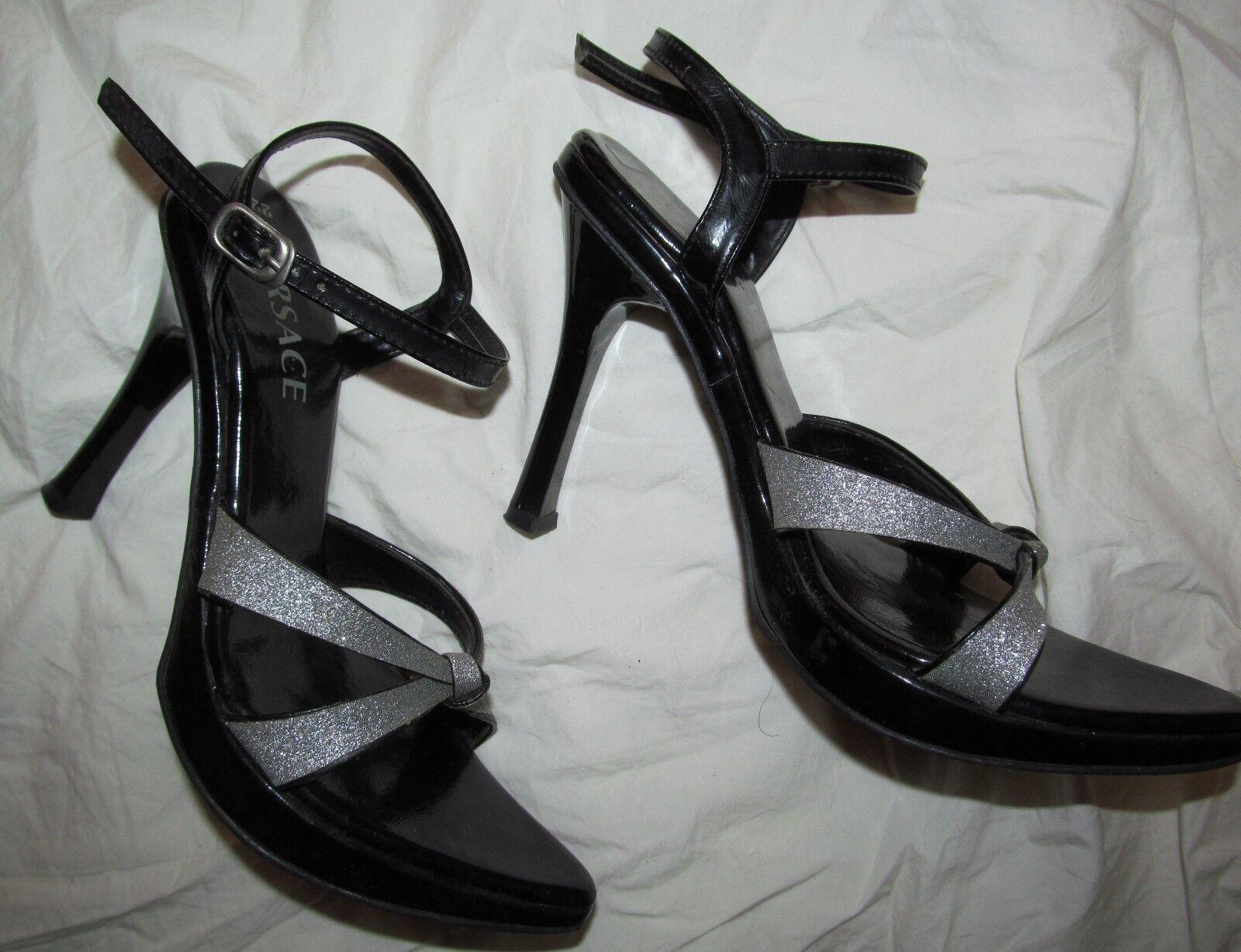VERSACE damen 6 6 6 early 00s vtg glittery Silber schwarz open toe high heel sandals 4e4cea