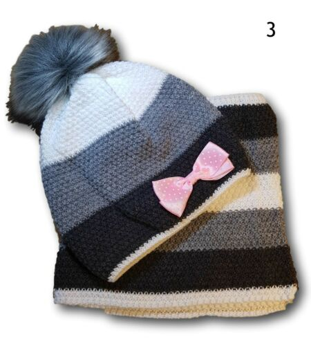 Girls Kids Children Warm Winter Bow Acrylic Hat Beanie and Snood Set 4-7 Years