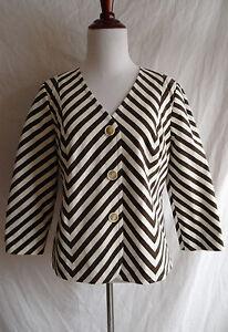 NWT-Talbots-Size-6-Grace-Fit-Jacket-Brown-amp-Ivory-Chevron-Blazer-3-4-Sleeve