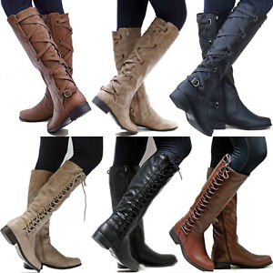 Women-PU-Leather-Mid-Calf-Boots-Ladies-Block-Low-Heels-Lace-Up-Riding-Shoes-Size