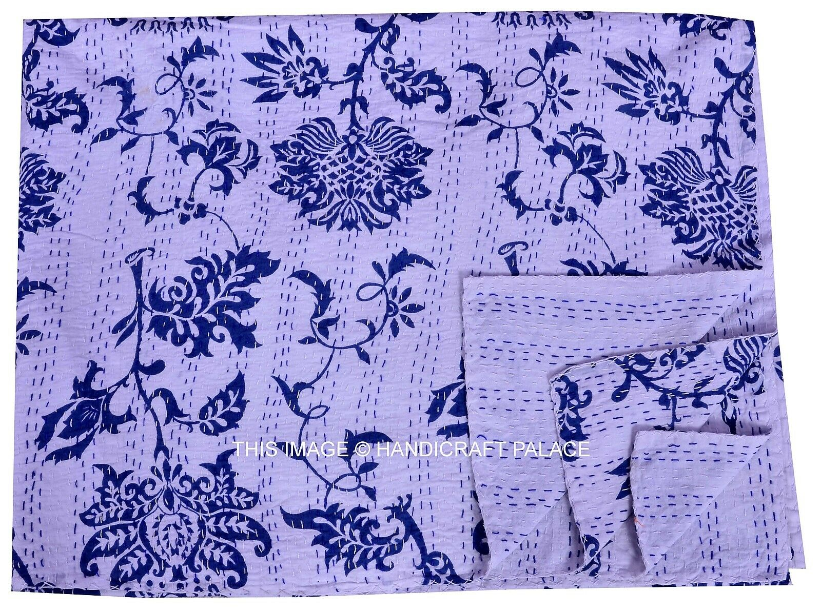 TWIN KANTHA QUILT INDIAN THROW GUDRI REVERSIBLE FLORAL DruckenED Weiß BettSPREAD