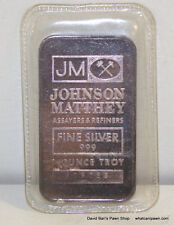 Johnson Matthey JM 1 Troy oz .999 Fine Silver Bullion Bar Ingot - 1oz 999 pure