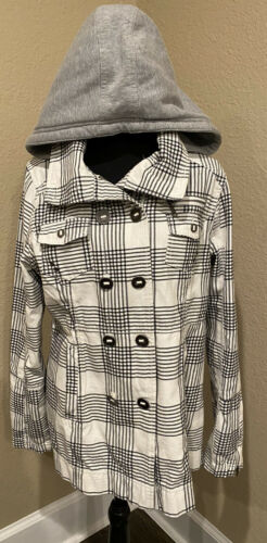HURLEY Trench Coat Large Checkered Hood Double Bre