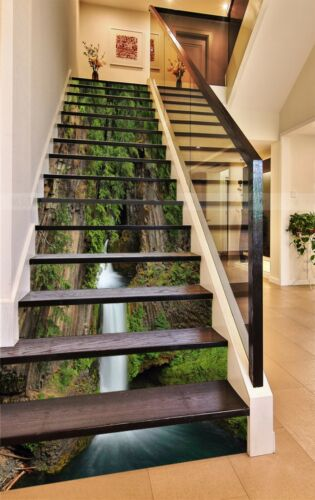 Details about  /3D Falls Mountain 3 Stair Risers Decoration Photo Mural Vinyl Decal Wallpaper UK