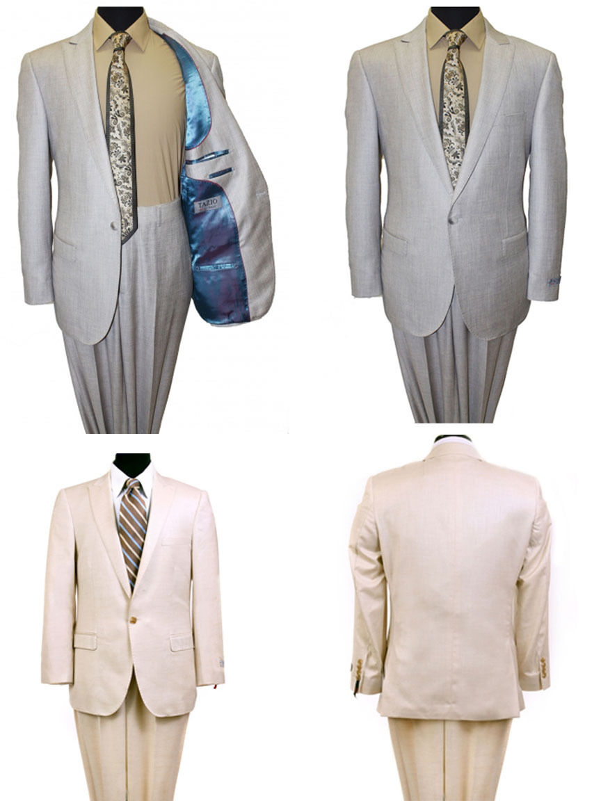 Men's 1 Button Single Breasted Flat Front Pants Groomsmen Solid Slim Fit Suit