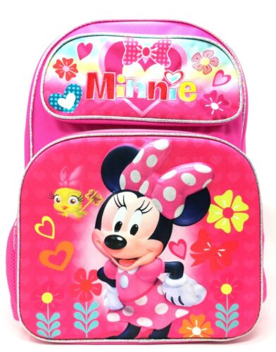 """Disney Minnie Mouse 3D  16/"""" Large School Backpack Pink"""