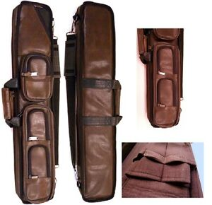 Lucasi-LC5-4x8-Brown-Leatherette-Case-Holds-4-Complete-Cues-and-4-extra-Shaft
