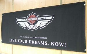 Original Werbebanner Harley 2003 100th Anniversary  ca.246x91cm aus Filz