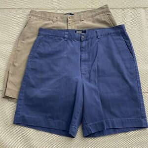 LOT-OF-2-Polo-Ralph-Lauren-38-x-8-034-Blue-Khaki-Cotton-Twill-Chino-Shorts