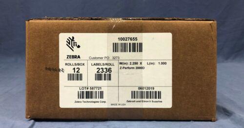 "Zebra Z-PERFORM 2000D DIRECT THERMAL LABELS 2.25/"" x 1/"" 1/"" CORE 12 ROLLS//CASE"