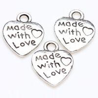 25/50Pcs Tibetan Silver Alloy Love Charm Pendant Fit Necklace Bracelet 13*10mm