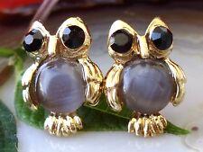 Ohrstecker Eule grau gold vergoldet mit grauem Cat Eye Katzenauge Ohrring Vogel