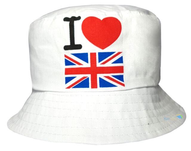Unisex Bucket Style Sun Hat I Love Britain Design Mens Womens Summer Beach Cap