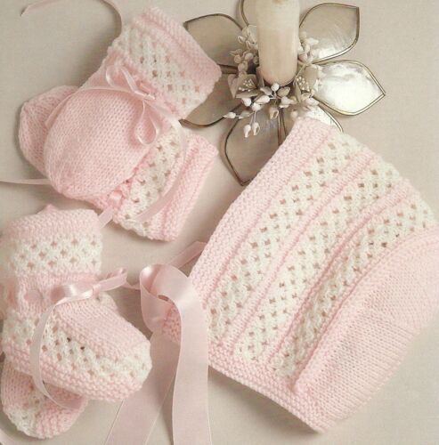 Bootees and Mitts  Knitting Pattern 1-6months 4ply    152 Baby Bonnet