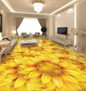 3D gold Sunflowers 52 Floor WallPaper Murals Wall Print 5D AJ WALLPAPER UK Lemon