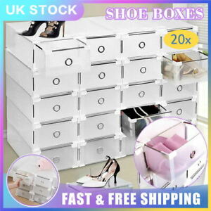 20x Clear Plastic Shoe Storage Boxes Drawer Stackable Foldable Durable Organiser