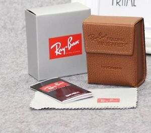 5fd3dcb406 New RayBan Brown Wayfarer Folding Sunglasses Case w  cleaning cloth ...