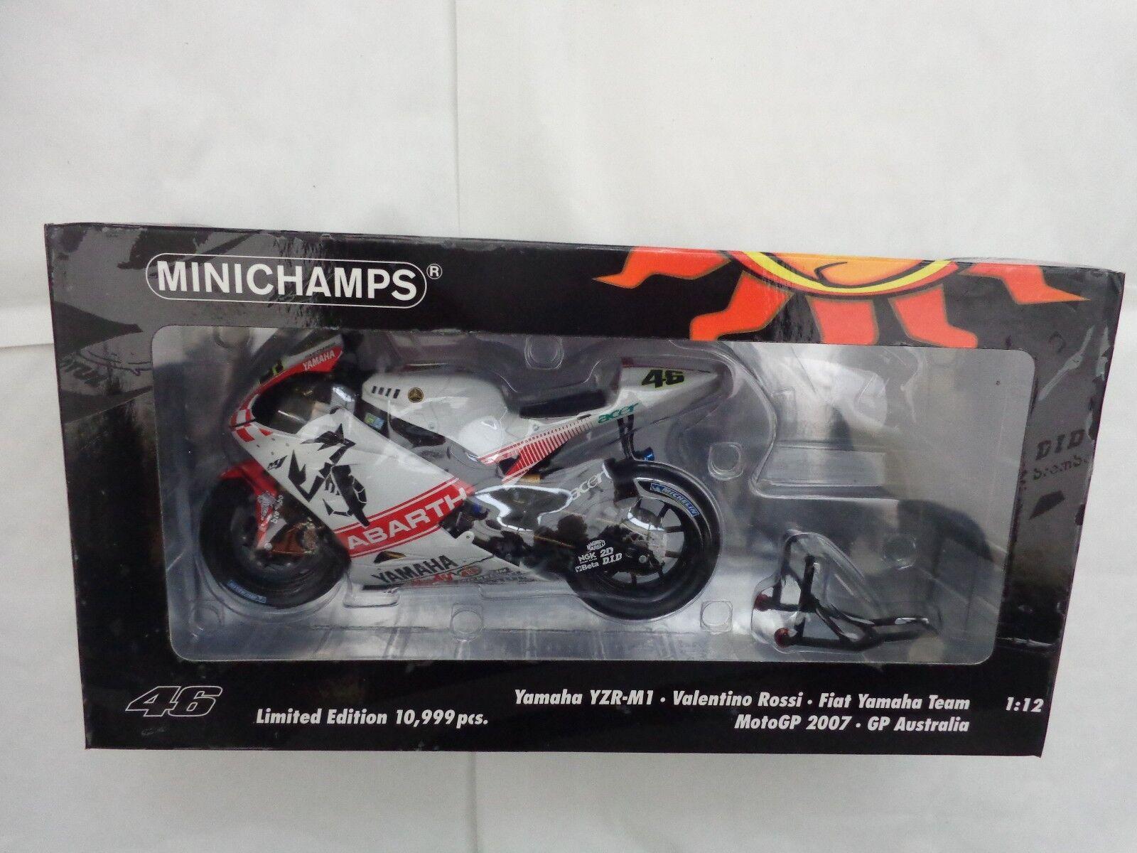 Minichamps 1 12 Valentino Rossi Yamaha  YZR-M1 Australia GP 2007 Moto GP Bike  à vendre