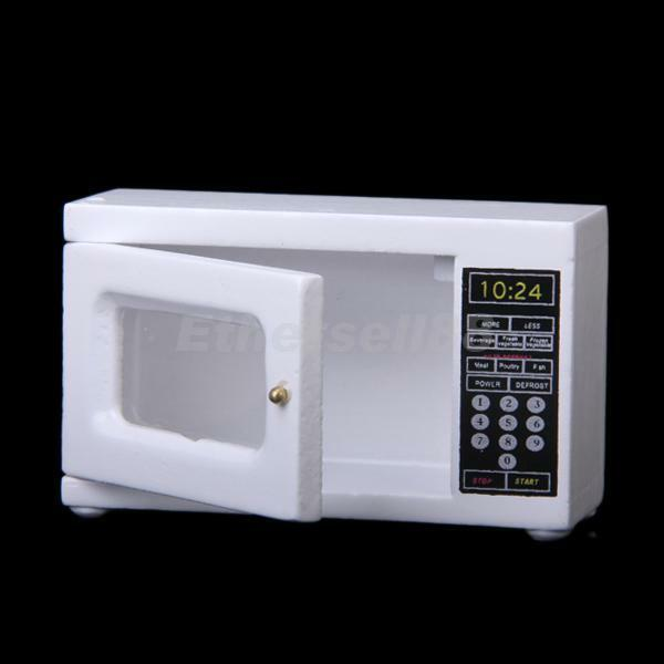 Dollhouse Miniature White Wooden Microwave Oven Kitchen Accessories 6.5x 2.5x4cm