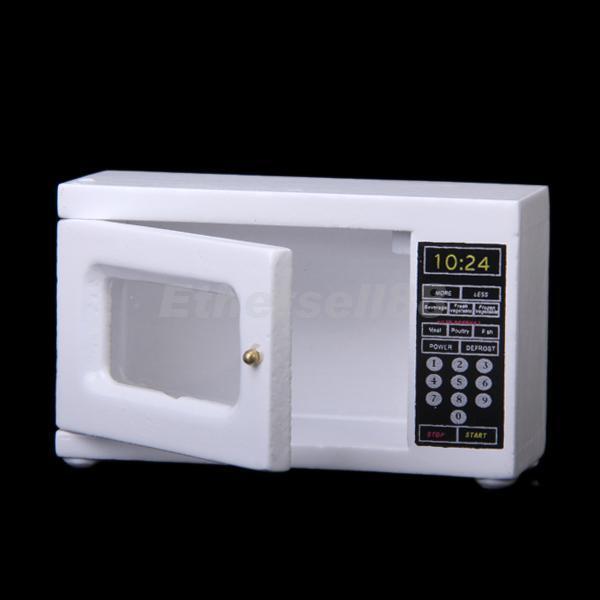 Dollhouse Miniature White Wooden Microwave Oven Kitchen Accessories 6.5x 2.5x4cm