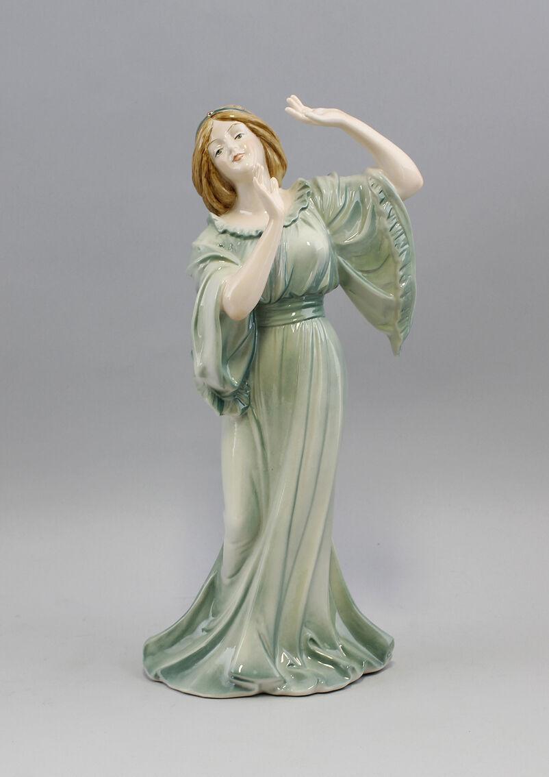 Porzellan Figur tanzende Grazie Kleid grün Ens H33cm 9941338
