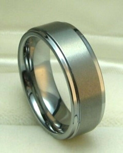 MEN 8MM TUNGSTEN CARBIDE SATIN FINISHED ring size 10 or 10.5 Wedding!