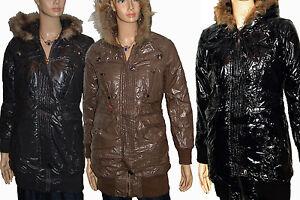 Details zu DameN WinTeR Long Jacke *LacK GlanZ OptiK* SteppjacKe Kurz ManTeL 36 40 #J 09853
