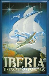 Iberia-Lineas-Letrero-de-Metal-3D-en-Relieve-Arqueado-Tin-Sign-20-X-30CM