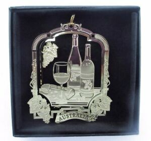 Details About Australia Wine Christmas Ornament Black Leatherette Gift Box